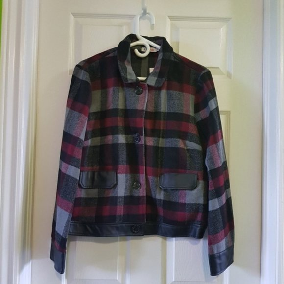2/$25 red grey plaid leather bomber jacket XL